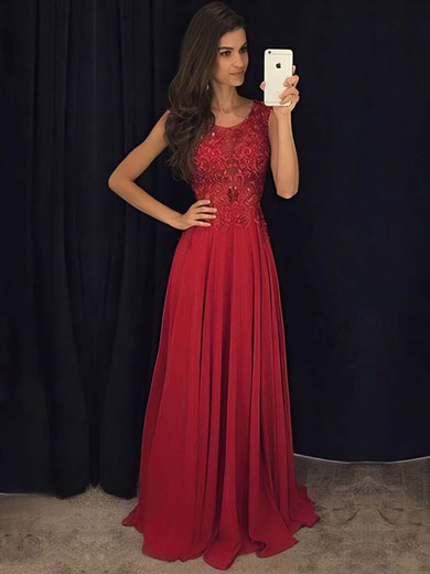 A-line Scoop Neck Floor-length Chiffon Prom Dresses with Appliques Lace #Favs020103514