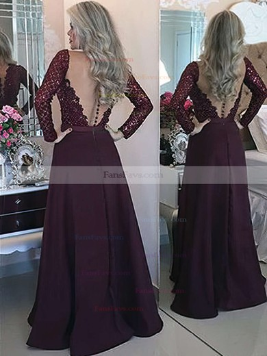 A-line Scoop Neck Floor-length Chiffon Prom Dresses with Appliques Lace Sashes #Favs020103603