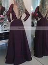 A-line Scoop Neck Satin Floor-length Appliques Lace Prom Dresses #Favs020103603