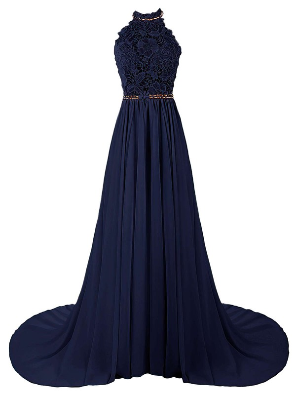 A-line Halter Lace Chiffon Sweep Train Beading Prom Dresses #Favs020103615