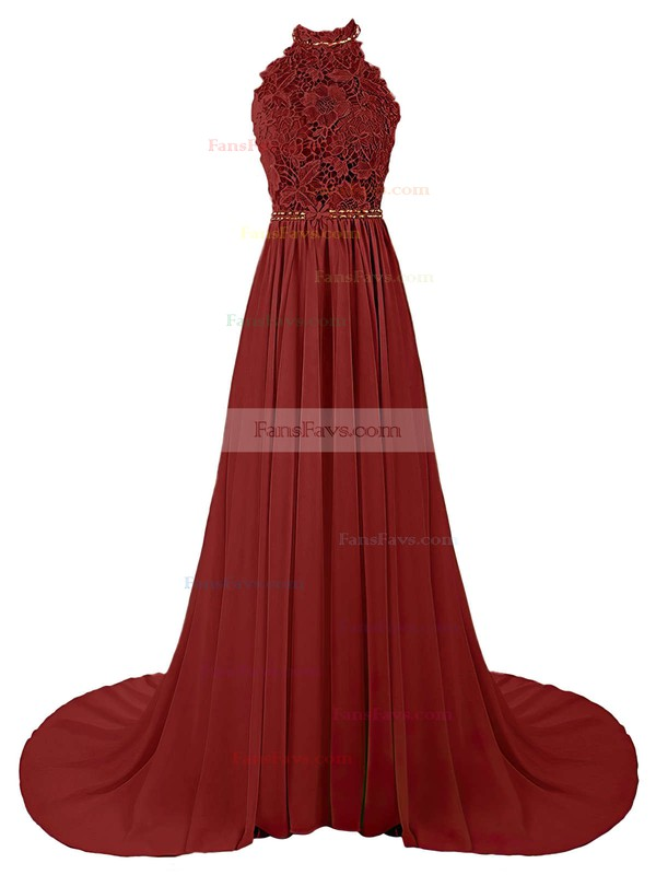 A-line Halter Sweep Train Chiffon Prom Dresses with Appliques Lace Beading #Favs020103615