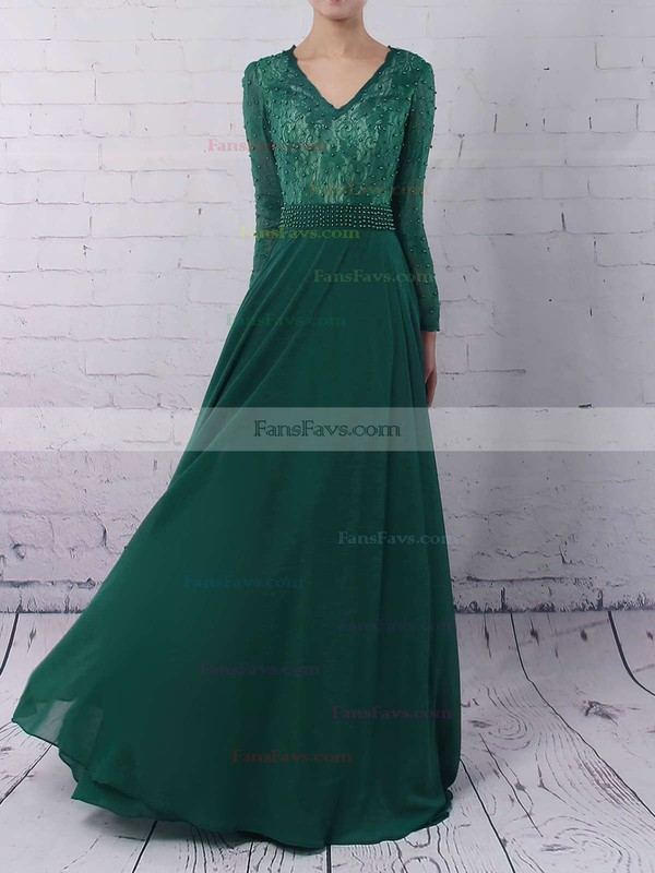 A-line V-neck Sweep Train Chiffon Prom Dresses with Appliques Lace #Favs020103677