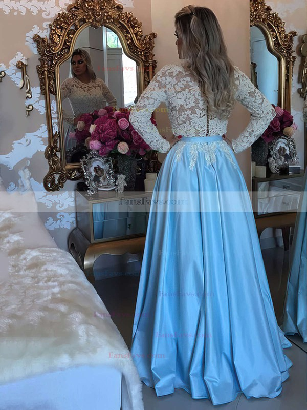 A-line Scoop Neck Floor-length Satin Tulle Prom Dresses with Appliques Lace Sashes #Favs020103719