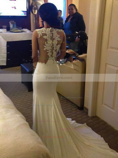 Trumpet/Mermaid Scoop Neck Sweep Train Chiffon Prom Dresses with Appliques Lace #Favs020103724