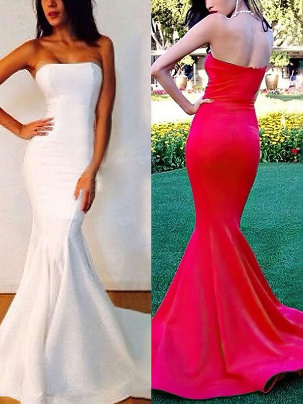 Trumpet/Mermaid Strapless Sweep Train Silk-like Satin Prom Dresses with Ruffle #Favs02016264