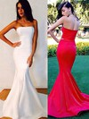 Trumpet/Mermaid Strapless Sweep Train Silk-like Satin Prom Dresses with Ruffle #Favs02016264
