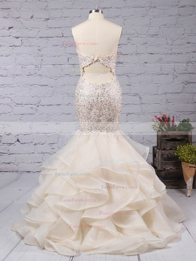 Trumpet/Mermaid Sweetheart Organza Sweep Train Beading Prom Dresses #Favs020104547