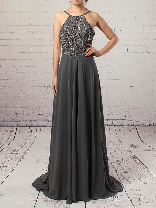 A-line Scoop Neck Chiffon Sweep Train Beading Prom Dresses #Favs020104558