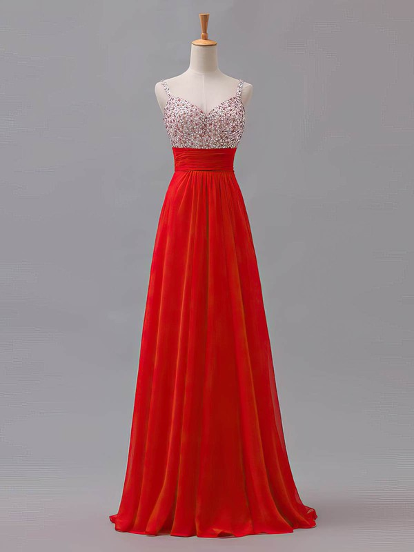A-line Sweetheart Floor-length Chiffon Prom Dresses with Beading Sequins #Favs02013433