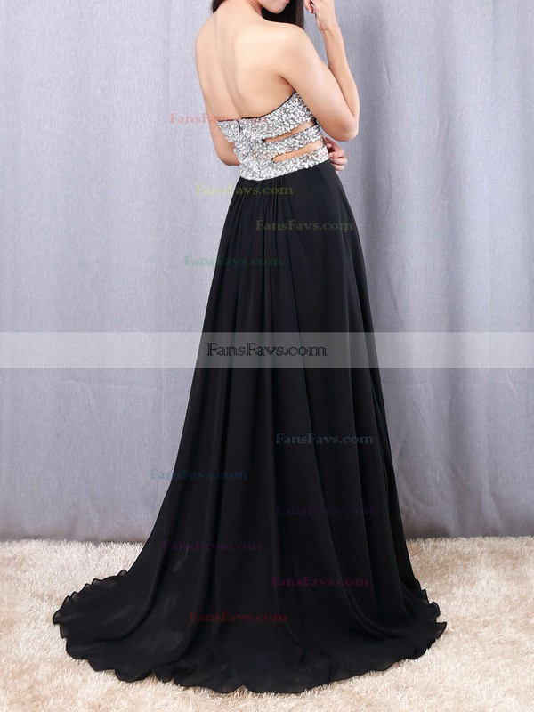 A-line Sweetheart Floor-length Chiffon Prom Dresses with Beading Split Front #Favs02016065
