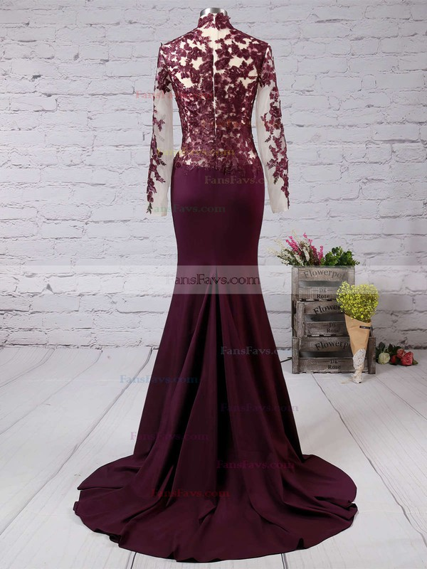 Trumpet/Mermaid High Neck Silk-like Satin Sweep Train Appliques Lace Prom Dresses #Favs02016267