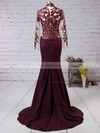 Trumpet/Mermaid High Neck Sweep Train Silk-like Satin Prom Dresses with Appliques Lace #Favs02016267