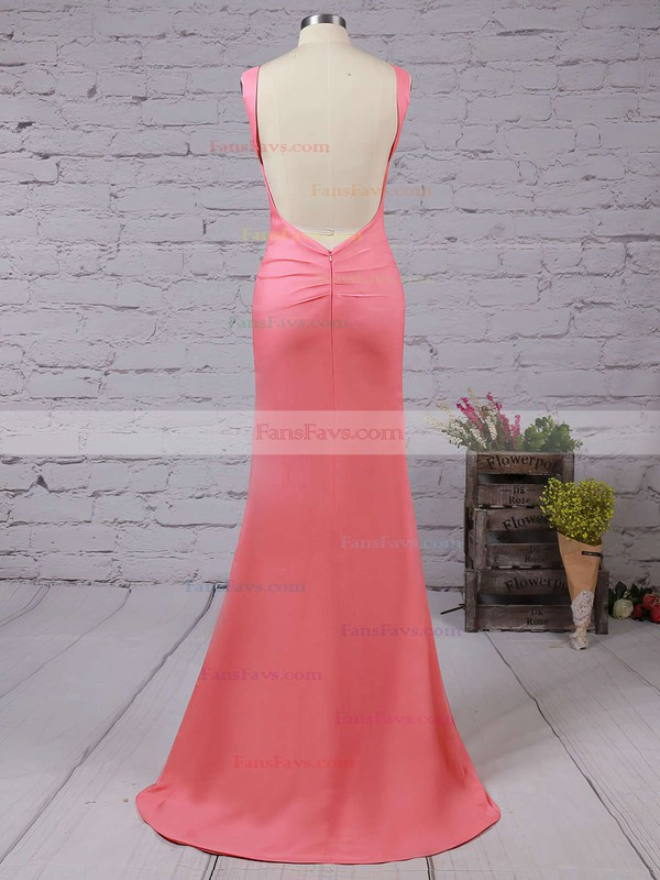 Trumpet/Mermaid Scoop Neck Silk-like Satin Sweep Train Prom Dresses #Favs02016324