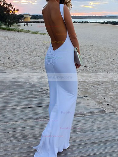 Trumpet/Mermaid Scoop Neck Sweep Train Silk-like Satin Prom Dresses with Ruffle #Favs02016324