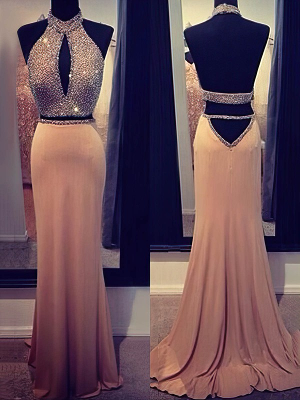 Trumpet/Mermaid High Neck Chiffon Sweep Train Beading Prom Dresses #Favs02016916