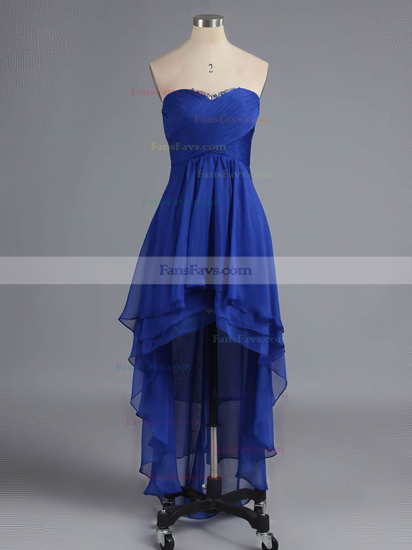 Empire Sweetheart Chiffon Asymmetrical Beading Homecoming Dresses #Favs02042216