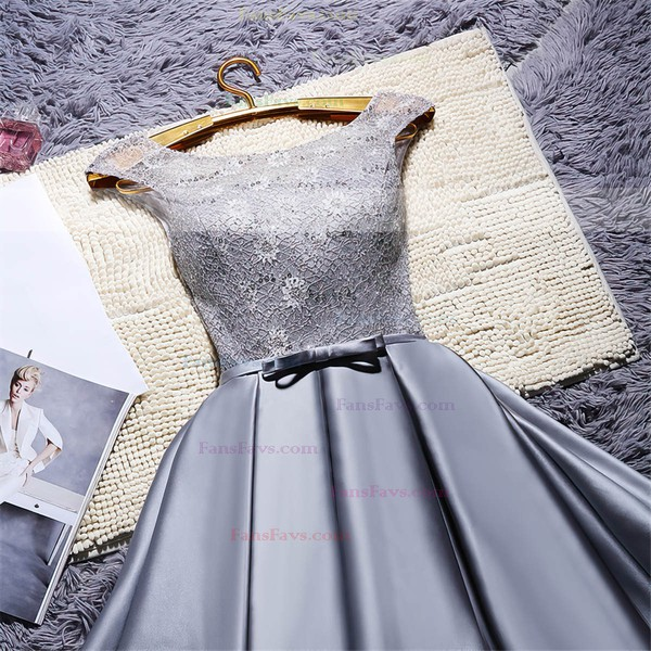 A-line Scoop Neck Satin Lace Short/Mini Sashes / Ribbons Lace-up Sweet Prom Dresses #Favs020103476