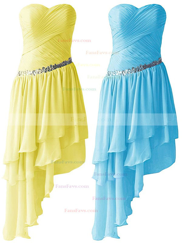 A-line Sweetheart Chiffon Asymmetrical Beading High Low Beautiful Prom Dresses #Favs020103611