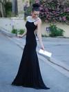Trumpet/Mermaid Scoop Neck Jersey Sweep Train Crystal Detailing Prom Dresses #Favs02016327