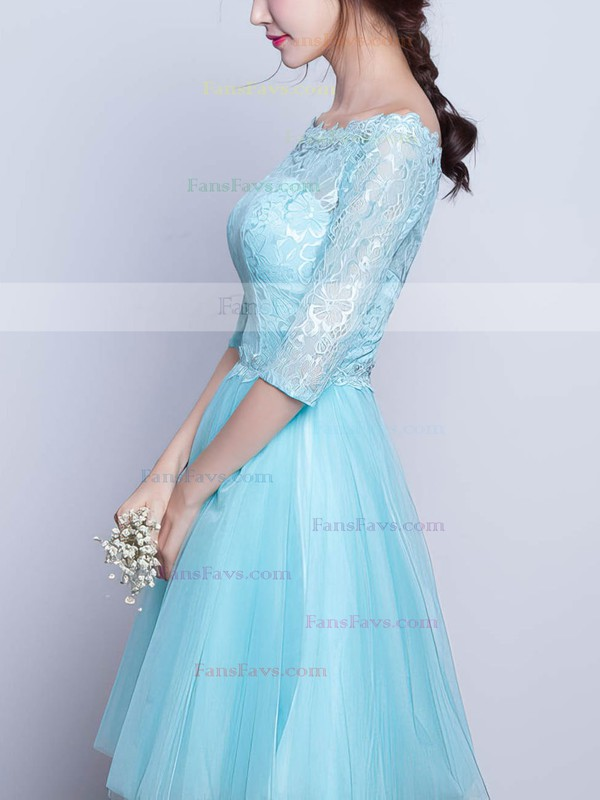 Pretty A-line Scoop Neck Lace Tulle Short/Mini Beading 1/2 Sleeve Prom Dresses #Favs020102871