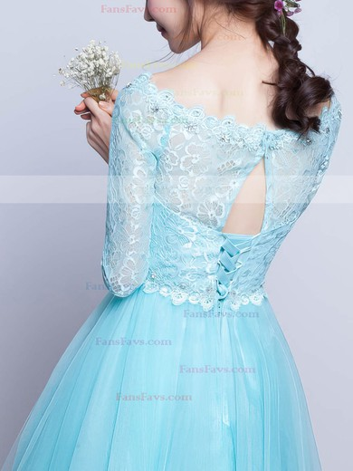A-line Scoop Neck Short/Mini Lace Tulle Prom Dresses with Beading #Favs020102871