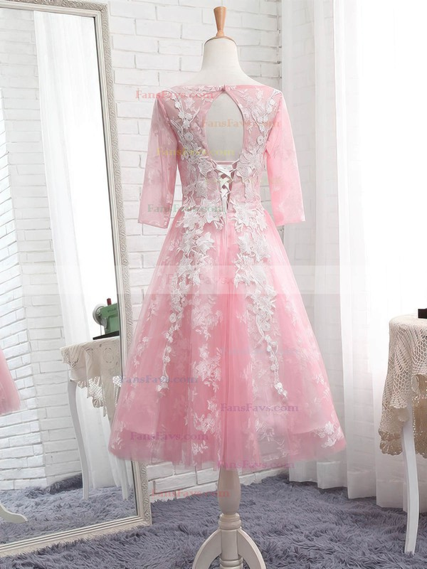 Pretty A-line Scoop Neck Tulle Tea-length Appliques Lace 3/4 Sleeve Prom Dresses #Favs020103006
