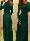 A-line Scoop Neck Silk-like Satin Floor-length Sashes / Ribbons Prom Dresses #Favs02016785