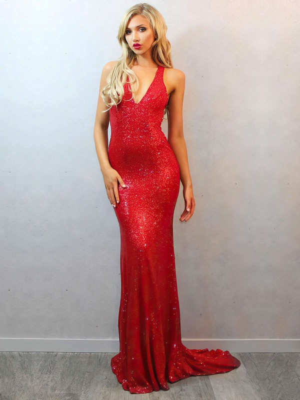 Trumpet/Mermaid V-neck Sweep Train Sequined Prom Dresses with Beading #Favs02016835