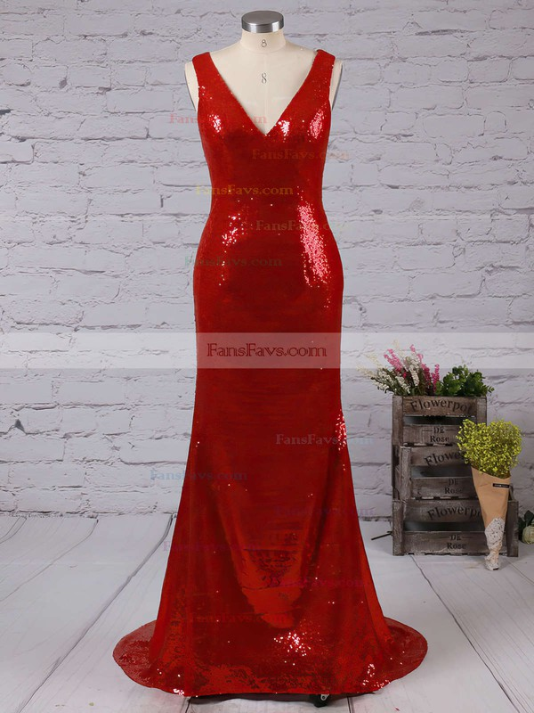 Trumpet/Mermaid V-neck Sequined Sweep Train Prom Dresses #Favs02016835