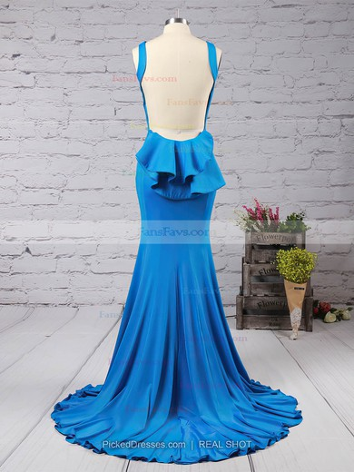 Trumpet/Mermaid Scoop Neck Sweep Train Jersey Prom Dresses with Ruffle #Favs02016910