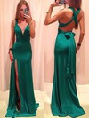 Sheath/Column V-neck Silk-like Satin Floor-length Sashes / Ribbons Prom Dresses #Favs02018713