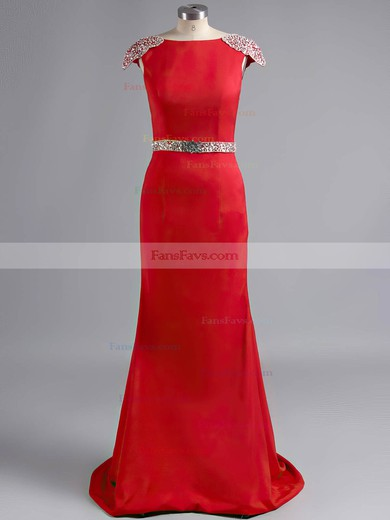 Sheath/Column Scoop Neck Sweep Train Silk-like Satin Prom Dresses with Appliques Lace Beading #Favs02019924