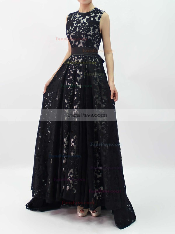 A-line Scoop Neck Lace Asymmetrical Sashes / Ribbons Prom Dresses #Favs020101207