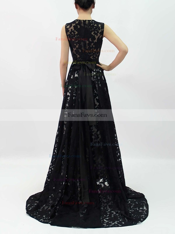 A-line Scoop Neck Asymmetrical Lace Prom Dresses with Sashes #Favs020101207