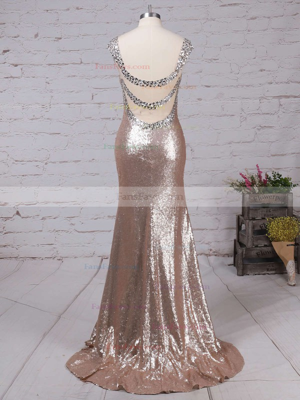 Trumpet/Mermaid V-neck Sequined Sweep Train Beading Prom Dresses #Favs02016911