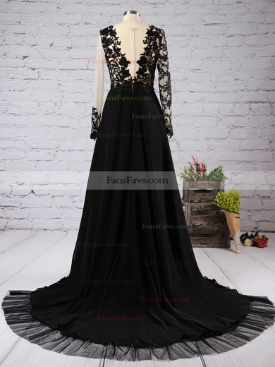 A-line Scoop Neck Chiffon Tulle Court Train Appliques Lace Prom Dresses #Favs020102059