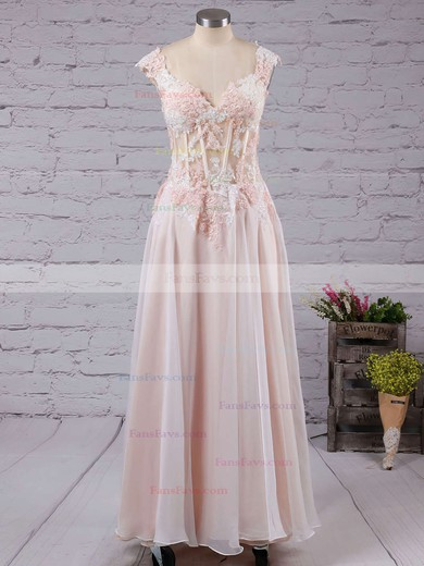 A-line V-neck Floor-length Tulle Prom Dresses with Appliques Lace #Favs020102138