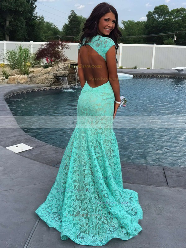 Trumpet/Mermaid V-neck Lace Sweep Train Appliques Lace Prom Dresses #Favs020102172