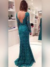 Trumpet/Mermaid Scoop Neck Lace Sweep Train Bow Prom Dresses #Favs020102175