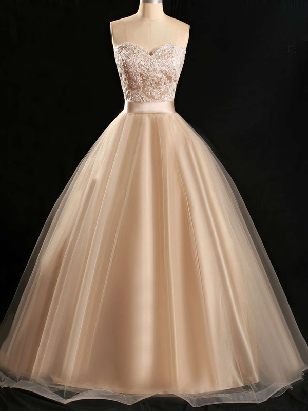 Ball Gown Sweetheart Floor-length Tulle Prom Dresses with Appliques Lace Sashes #Favs020102180